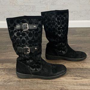 Coach Tinah black suede monogram mid calf boots